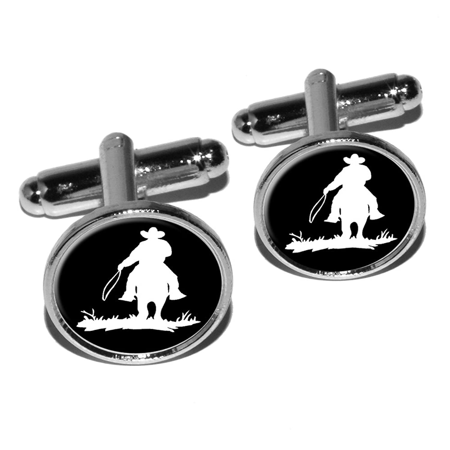 Graphics and More Cowboy - Rancher - Lasso Round Cufflink Set - Silver