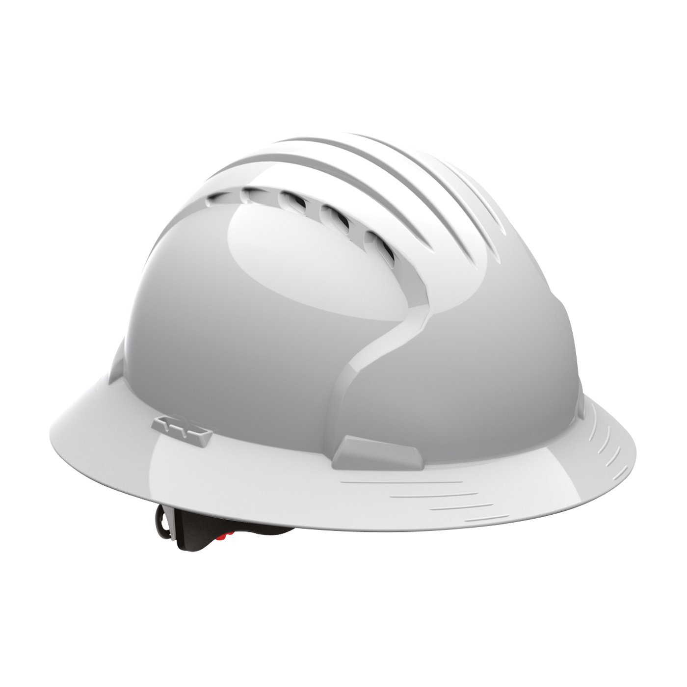 Evolution Deluxe 6161 280-EV6161-10V Full Brim Hard Hat with HDPE Shell, 6-Point Polyester Suspension and Wheel Ratchet Adjustment Vented, White by Evolution Deluxe 6161
