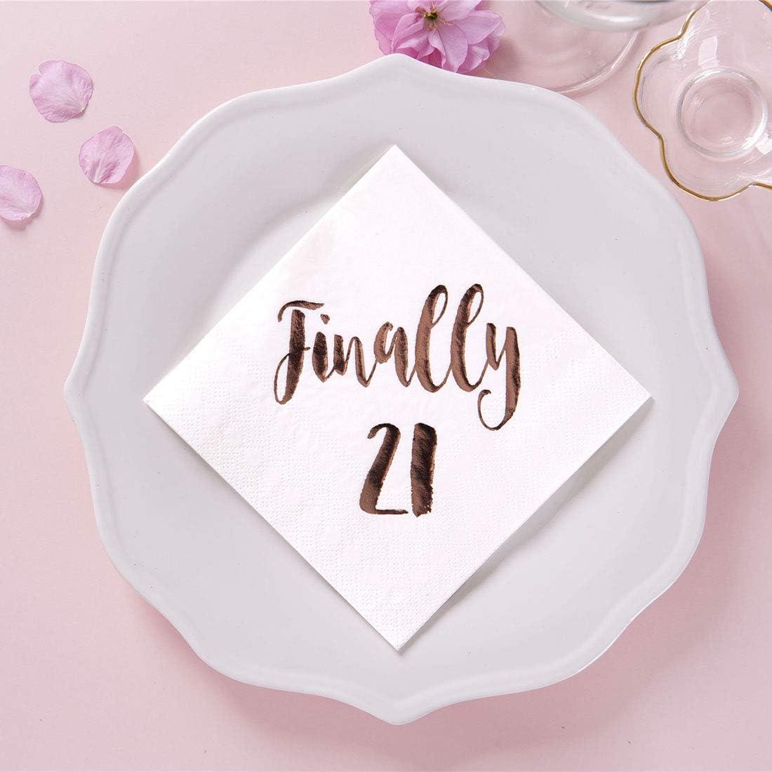 Amazon Com Magjuche Finally 21 Cocktail Napkins 50 Pack 3ply White Rose Gold 21st Birthday Dinner Celebration Party Decoration Napkin Home Kitchen