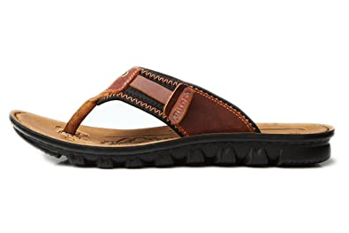 20a150bd347cc Nansay Men s Flip Flops Beach Summer Sandals Genuine Leather Classical  Slippers Indoor Outdoor US6.5