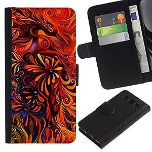 SAMSUNG Galaxy S3 III / i9300 / i747 Modelo colorido cuero carpeta tirón caso cubierta piel Holster Funda protección - Floral Art Red Vibrant Bright