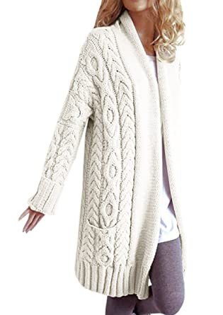 Fashare Womens Open Front Chunky Cable Knit Cardigan Sweaters Coat ...