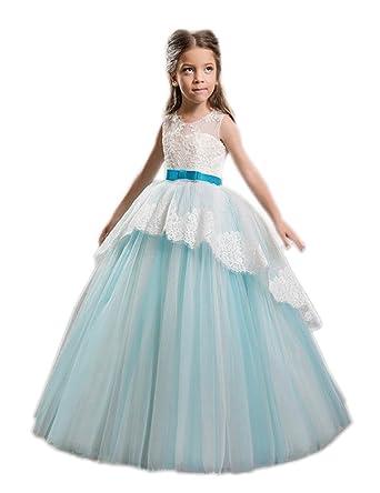b422948c275 Amazon.com  2017 A-line Pale Blue Flower Girl Dresses Round Neck Sleeveless  Floor Length Girls Dress For Weddings FB38  Clothing