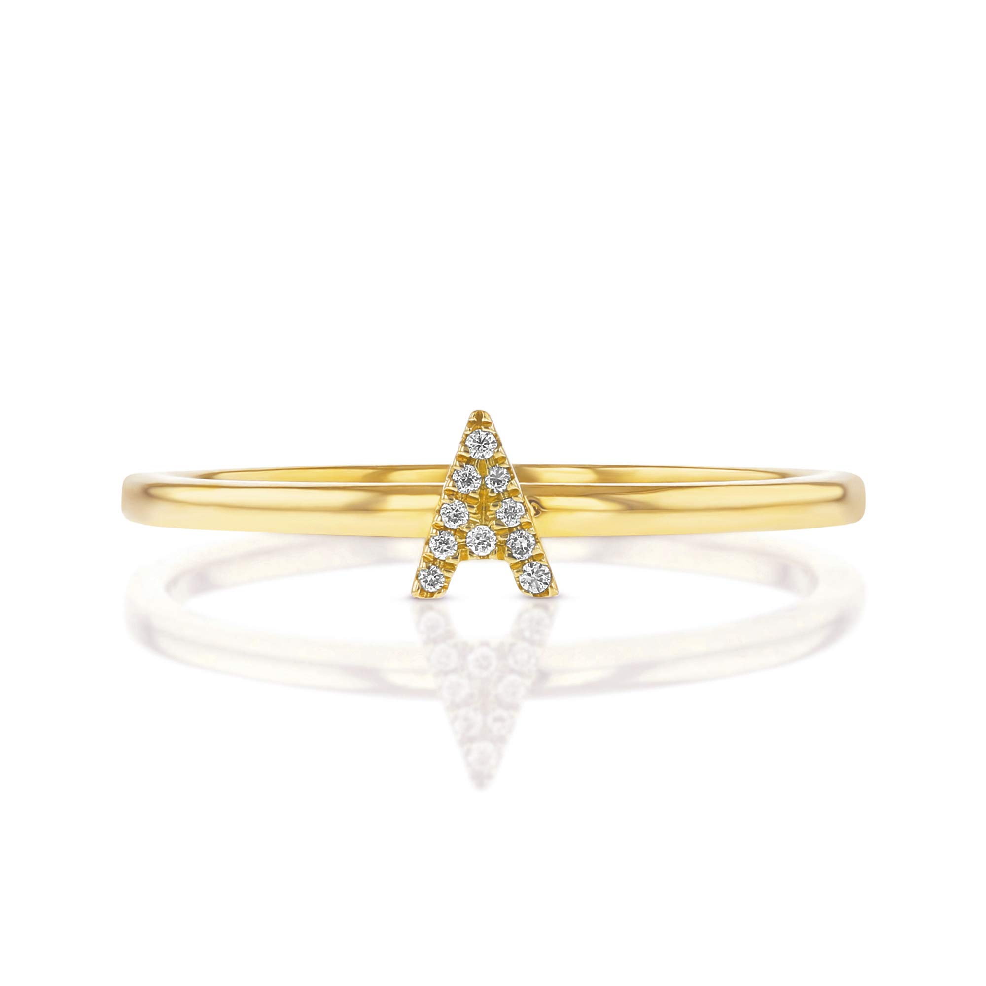 14K Yellow Gold Natural Diamond Initial 'A' Letter Micro-set Monogram Stackable Personalized Alphabet Ring, Size 7