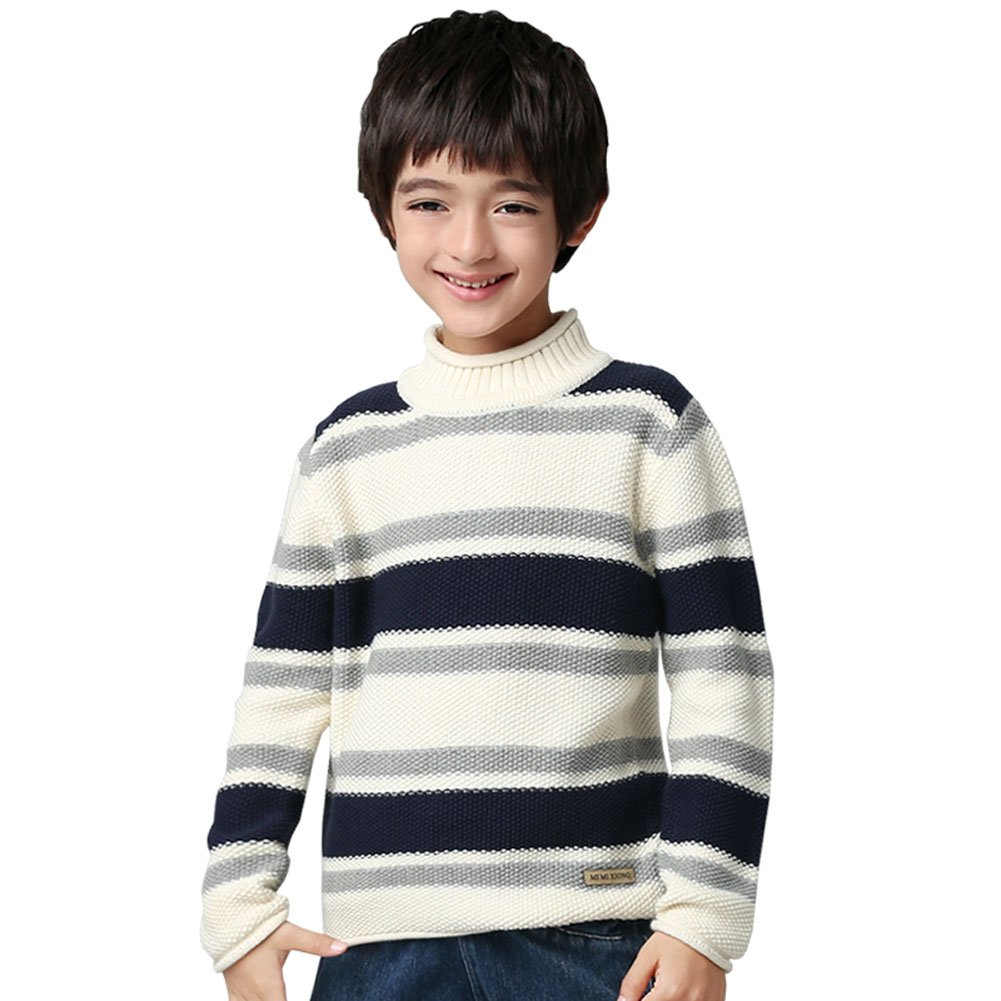 MiMiXiong MMX Boys Colorful Striped Winter Pullovers Sweaters Autumn Casual Children Knitwear Outerwear (3T, White)