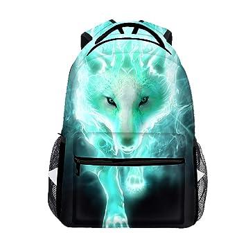 Amazon.com: Mochila escolar de león verde para niñas y niños ...