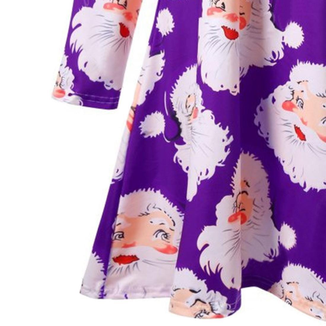 b30bbdcfc298 Kleid Damen Minikleid, Weihnachten Sankt Drucken Kleider Weihnachtskleid  Christmas Frauen Lange Ärmel Winter RundhalsKleider Bluse