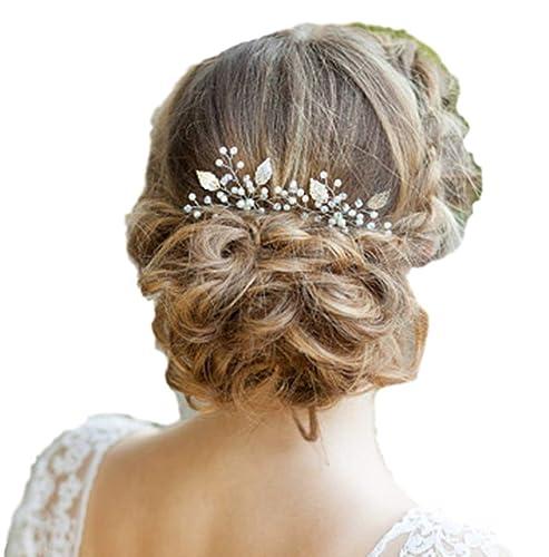 Braut-accessoires Braut Hochzeit Perlen Haarschmuck Blüte Blume Diadem Haargesteck Weiß G.4 Haarschmuck