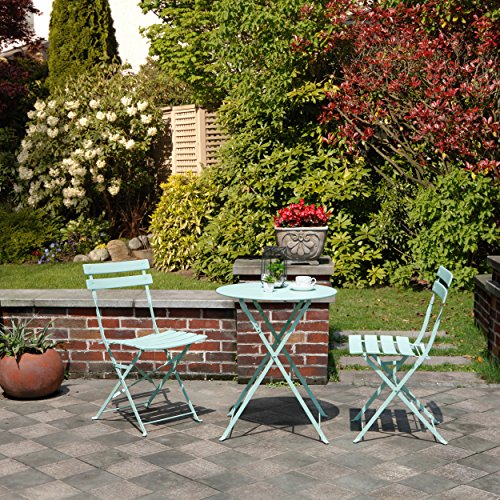 Sets Bistro Outdoor - Grand patio Premium Steel Patio Bistro Set, Folding Outdoor Patio Furniture Sets, 3 Piece Patio Set of Foldable Patio Table and Chairs, Mint Green