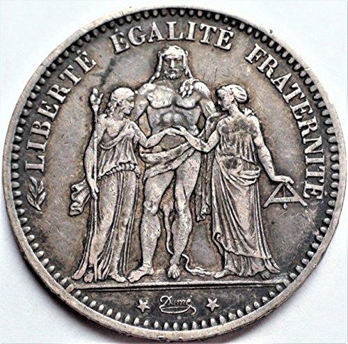 FR 1870-77 European Crown Size France Antique Silver Coin 5 Francs Good