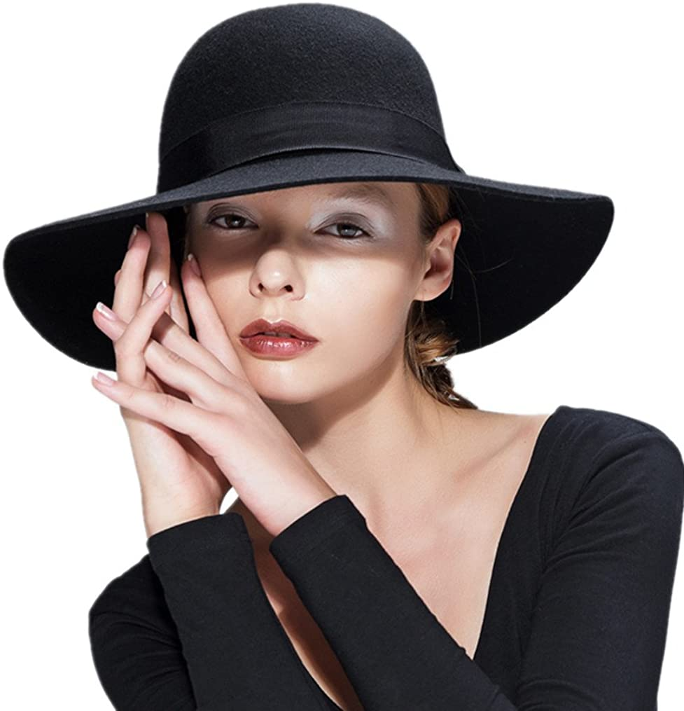 blue fur felt fedora Winter hat for women short brim spring trilby hats