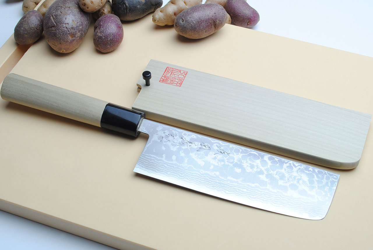 Yoshihiro Vg10 Stainless Steel 16 Layers Damascus Nakiri/ Usuba Vegetable Chef's Knife 6.5 In