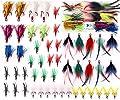 JSHANMEI Fishing Treble Hooks Feather Dressed Flash Teaser Hook Round Bend Classic Treble Hooks Kit Fishing Tackle Lure Bait