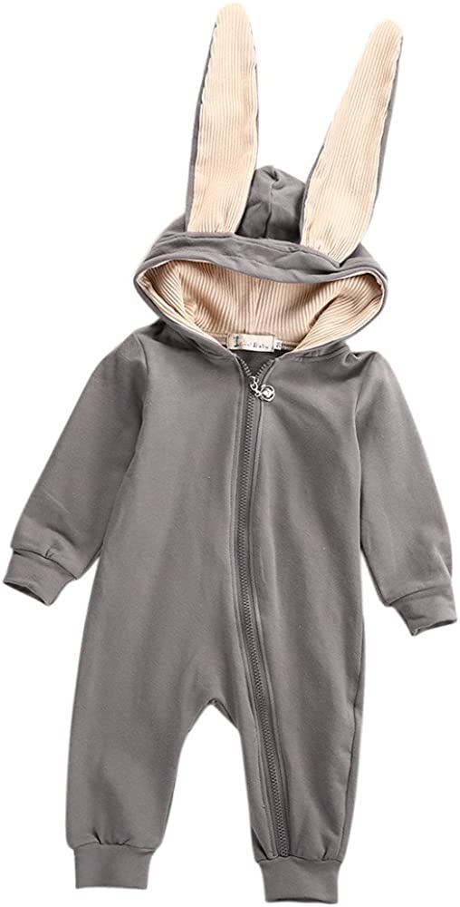 3//6M, 2 Long Sleeve Kehen Toddler Unisex Baby Rabbit Long Ears Hoodies Zipper Bunny Romper Outfit Clothes