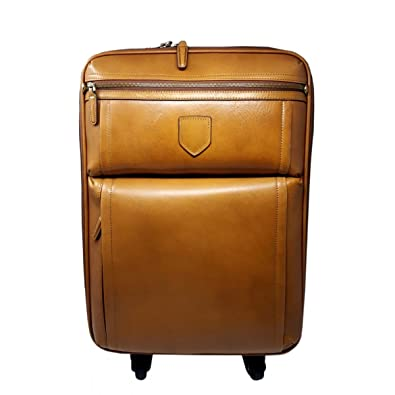 6bd4d429e549 Amazon.com: Genuine Leather Travel Trolley with 4 Multi Directional ...