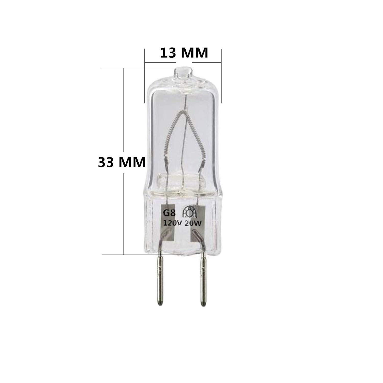 12-Pack,Xenon G8//T4 Halogen Light Bulbs,120 Volt// 20 Watt JCD Type Puck Lamp Replacement