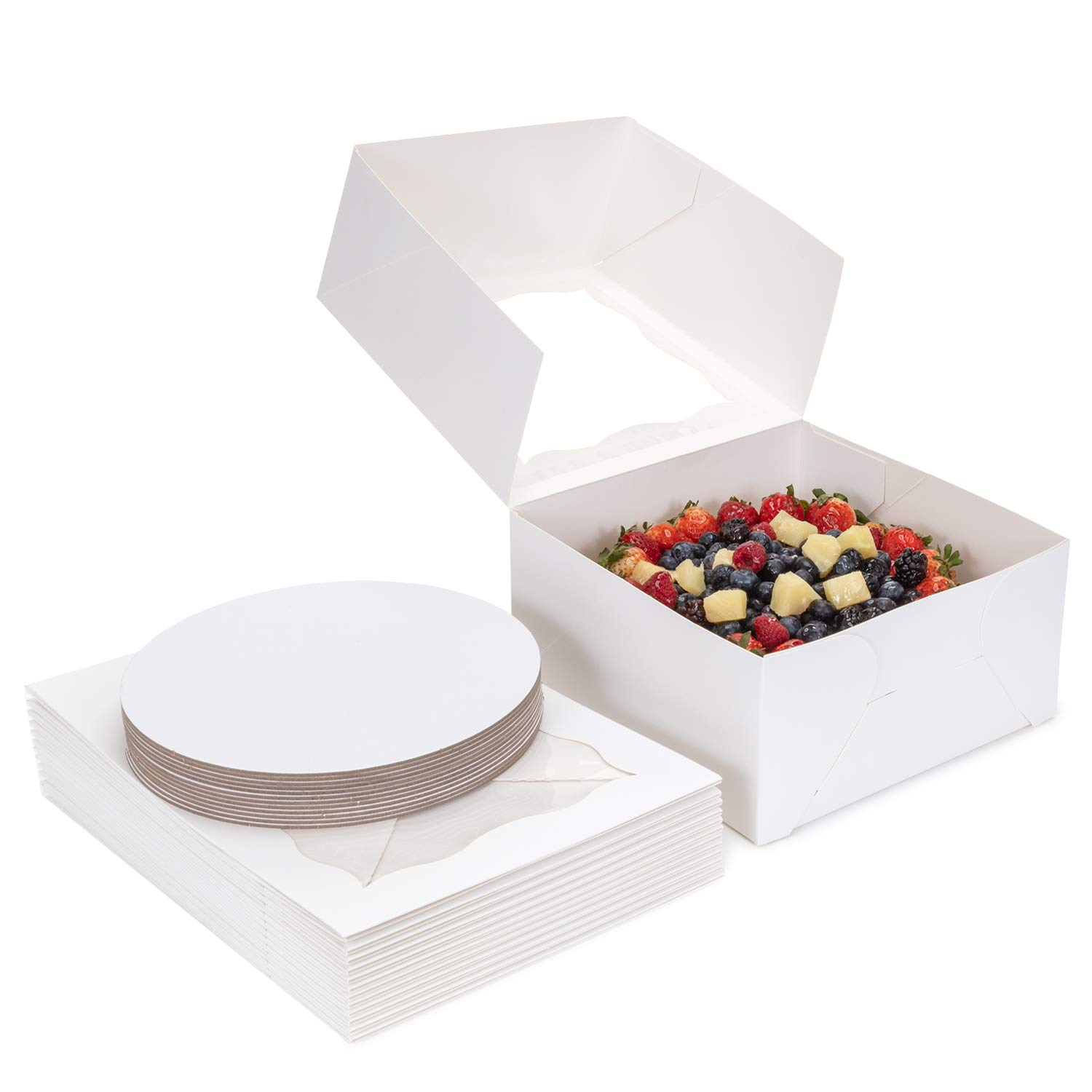 Bake Adore 12 Pack White 10x10x5 Cake Boxes 10 Inch Cake Box Boards Included - Sturdy Cake Boxes with Cake Boards 10 Inch Round Ideal for Transporting Baked Goods - Cake Boxes with Window Display