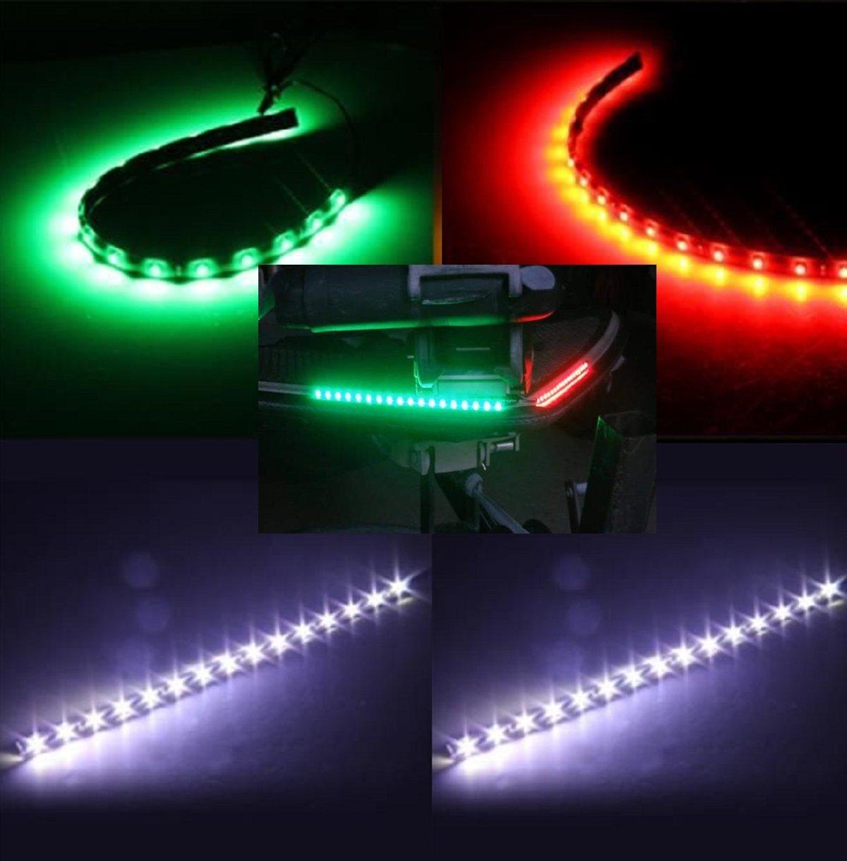 Boat Bow LED Navigation (STERN & BOW) Light Kit, Red, Green, and White Strips for Bass boats, Pontoon, Ski, Canoes, Kayaks, Triton, Ranger, BassCat, Nitro, Tracker Marine, Legend, Skeeter, Sun Tracker, Waterproof by Green Blob Outdoors