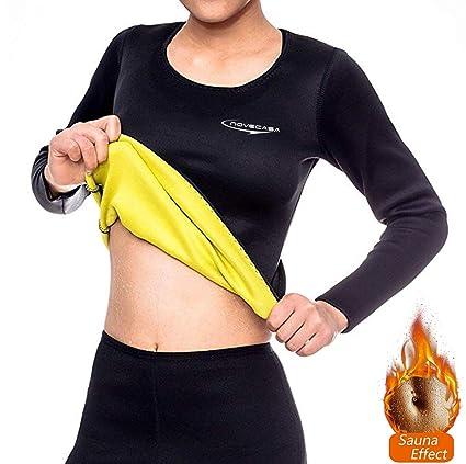 NOVECASA Camisa Sauna Mujer Neopreno Deportivos Body Shaper Shirt ...