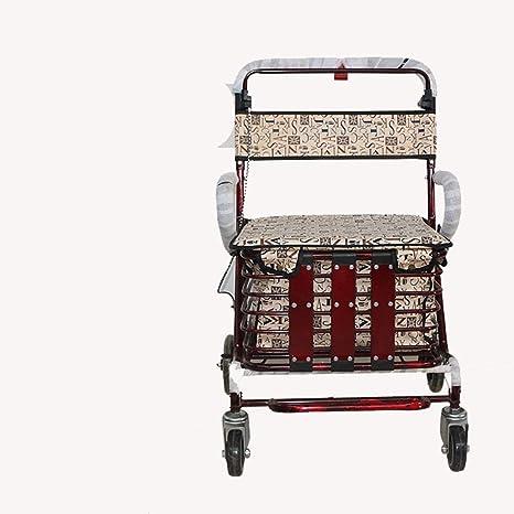Carro carrito de la Con freno andador con asiento acolchado cesta compras carrito