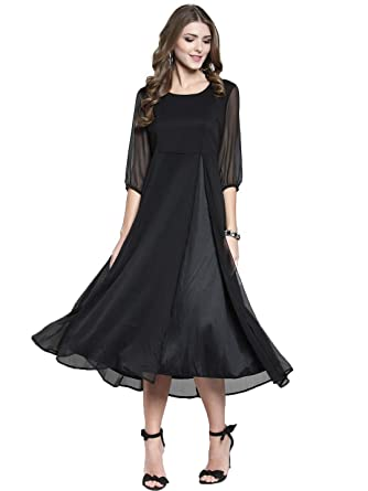 80556469abe SERA Women s Solid Black Polyester Fit   Flare Party Midi Dress  Amazon.in   Clothing   Accessories