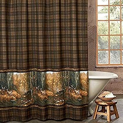 . Amazon com  Whitetail Birch Shower Curtain   Deer Bath Woods Meadow