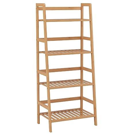 76d4b927bcb8 HOMFA Estantería Baño de Bambú Estantería Almacenaje para libros plantas  con 4 estantes 48 x 32x 116cm