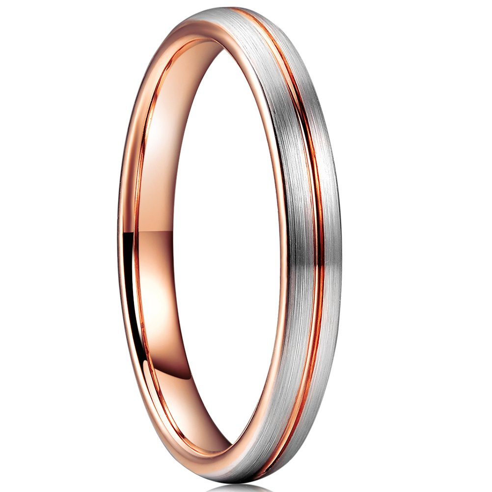 Three Keys Jewelry 3mm Womens Wedding Ring White Tungsten Carbide Wedding Band 18K Rose Gold Grooved Brushed Engagement Ring Size 9