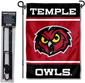 College Flags & Banners Co. Temple Owls Garden Flag and Flag Stand Pole Holder Set