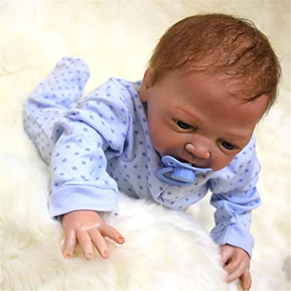 Soft 18 Inch Silicone Baby Doll Lifelike Reborn Babies Boy Handmade Dolls  Toy With Rooted Mohair 29a3e840dc35
