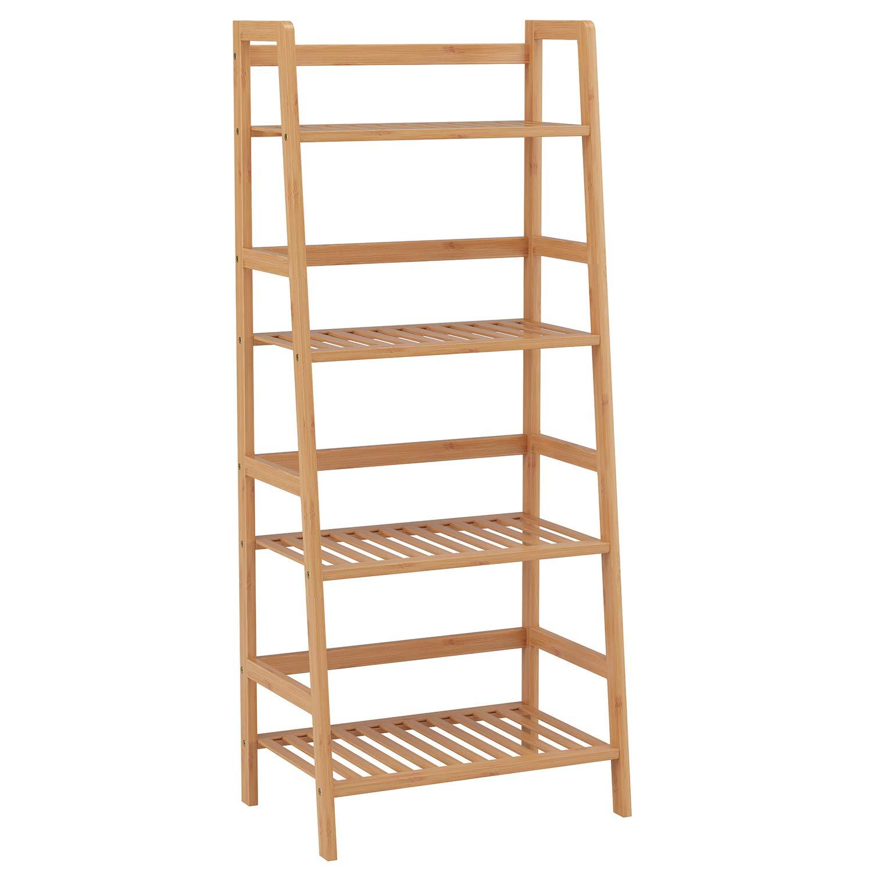 HOMFA Estantería Baño de Bambú Estantería Almacenaje para libros plantas con 4 estantes 48 x 32x