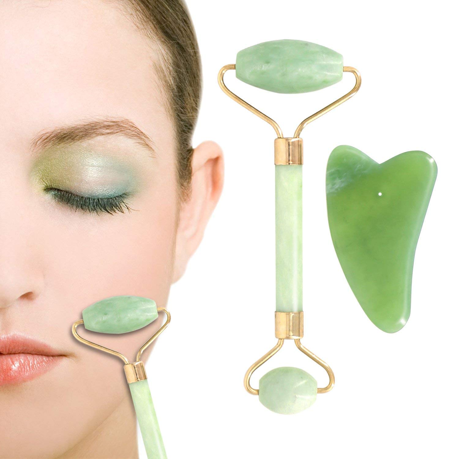Anti aging Natural Jade Roller for Face and Gua Sha Massage Tool Set imoocare ZT-0003-BLK