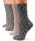 MIRMARU M104 Women's Winter 4 Pairs Wool Blend Crew Socks Collection(Black,Grey,Beige,Brown),Medium / Shoe Size:6-9.