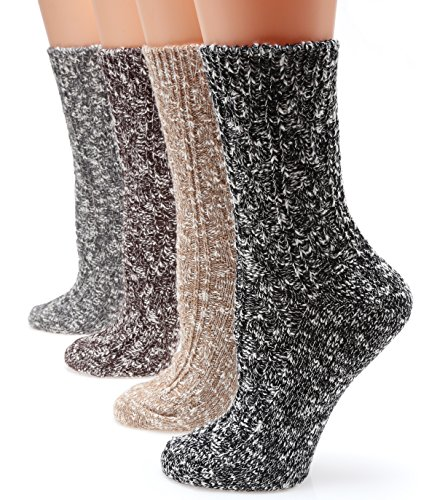 Winter 4 Pairs Wool Blend Crew Socks Collection(Black,Grey,Beige,Brown),Medium / Shoe Size:6-9. ()