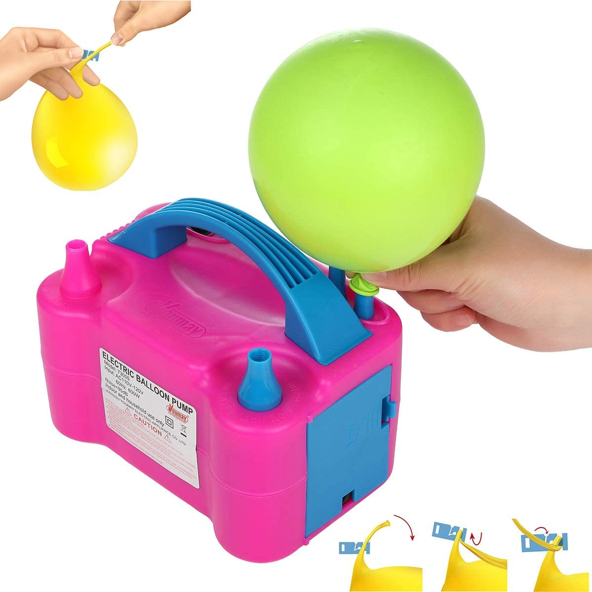 Amazon.com: Party Zealot Electric Balloon Inflator with 100 Balloon Ties Air  Pump Dual Nozzles Balloons Blower US Standard Plug for Balloon Arch, Balloon  Column Stand, and Balloon Decoration: Toys & Games