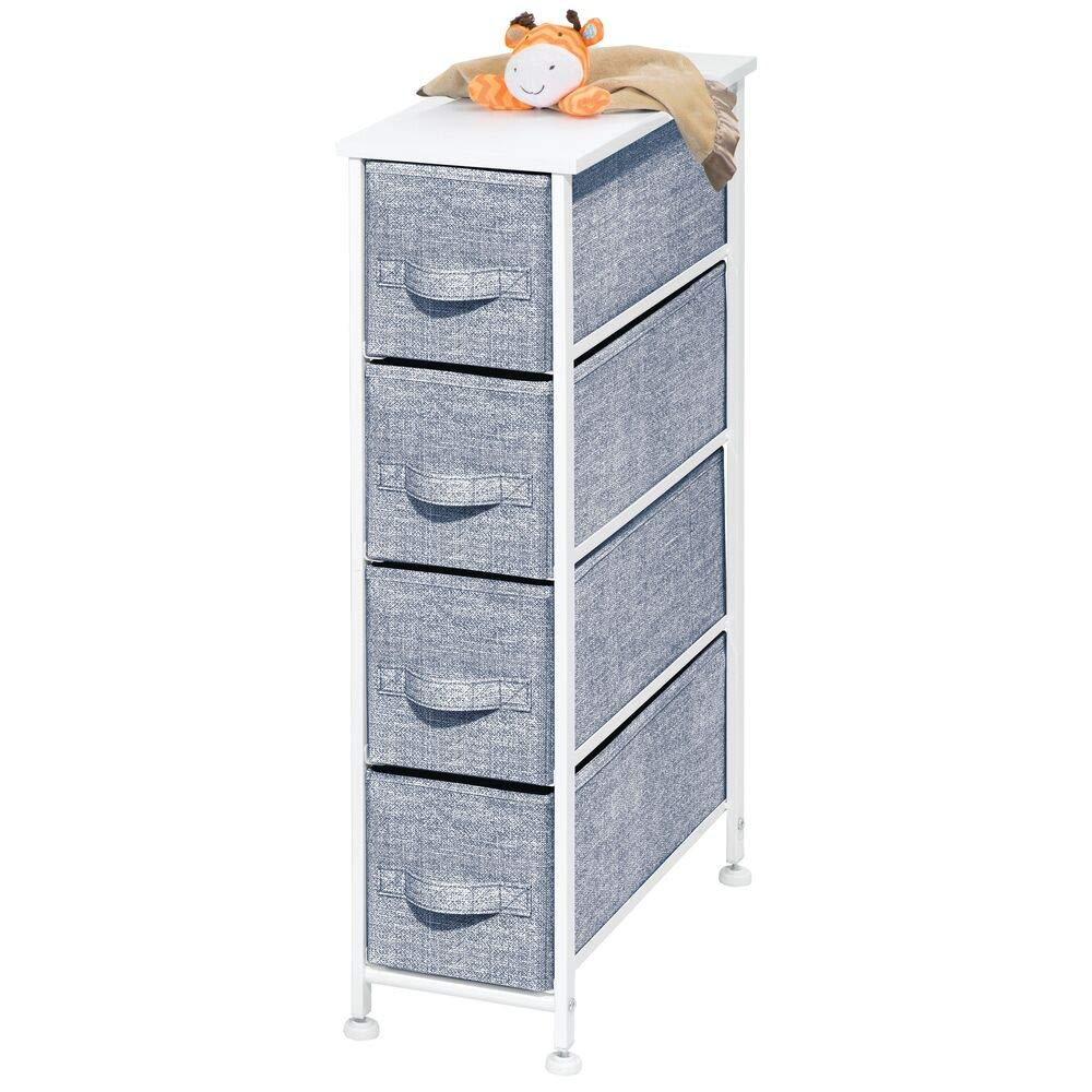 mDesign Narrow Vertical Dresser Drawers - Sturdy Steel Frame, Wood Top, 4 Easy Pull Fabric Bins - Organizer Unit for Bedroom, Child/Kids Room or Nursery - Navy Blue