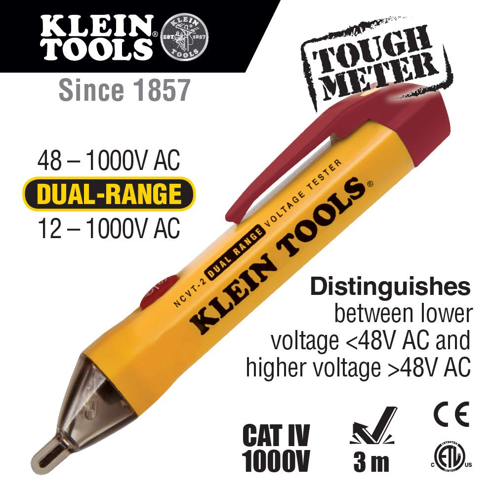 Klein Tools Ncvt 2 Dual Range Tester Non Contact For Circuit Breaker Finder Gfci Outlet Ncv Detector Standard And Low Voltage With 3 M Drop Protection
