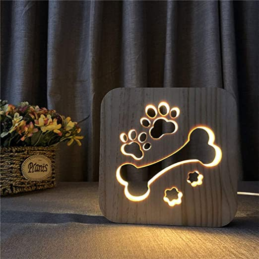 Details about  /Wooden Bedroom Decoration Night Light Dog Paw Wolf Head Led USB Gift