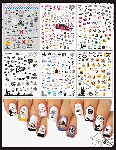 (Halloween Folklore Nail Art 3D Stickers Decals ♥ Large Variety - Pack of 6 / CA-I)