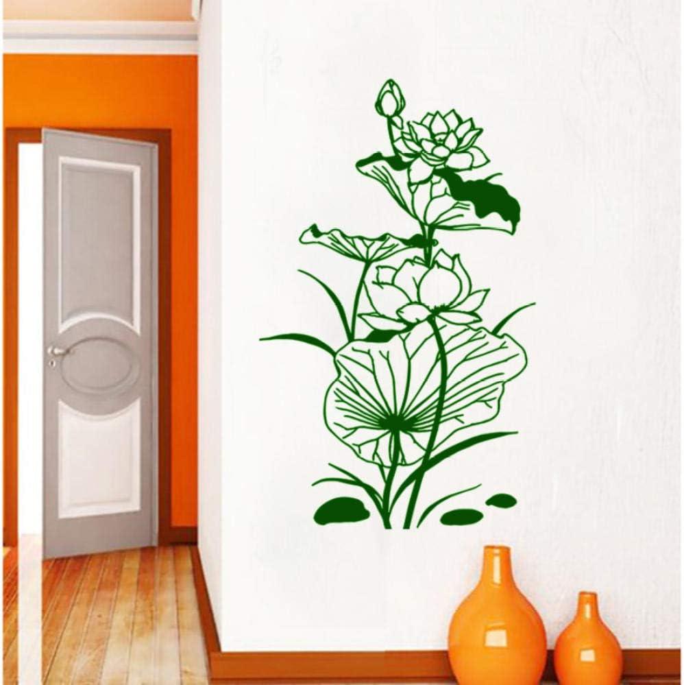 WAGUZA Estilo chino hoja de loto loto etiqueta de la pared sala de estar fondo puerta decoración mural arte calcomanías tallado PVC flor pegatinas