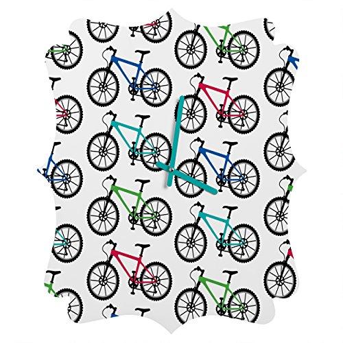 Deny Designs  Andi Bird, Ride a Bike White, Quatrefoil Clock, Medium by Deny Designs