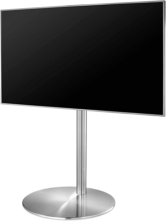 Cavus – FM100/60S – Diseño TV Soporte – 53 cm de diámetro Soporte Redondo Acero Inoxidable – 100 cm SAULE Acero Inoxidable – VESA 400 x 400 – 32 de 55