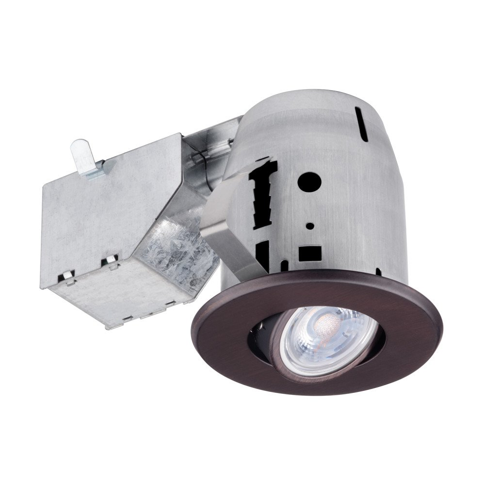 Globe Electric 3'' Swivel Spotlight Recessed Lighting Kit Dimmable Downlight, Oil Rubbed Bronze Finish, IC Rated with LED Bulb, Easy Install Push-N-Click Clips, 90712