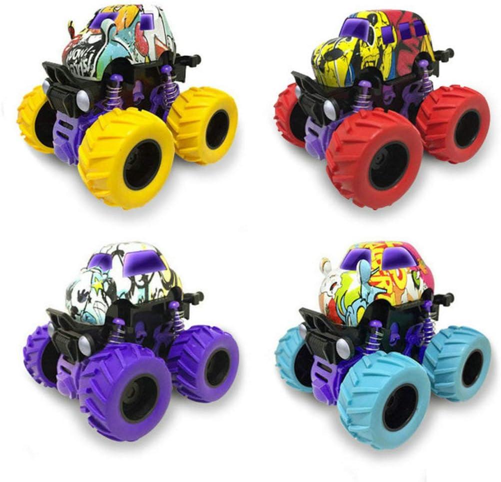 GuDoQi 4 pezzi Monster Truck, Aleación Tira de la Carretera Escalada de Coches, Vehículos Giratorios de 360 Grados Juguetes para Niños Niñas de 3 Años en Adelante
