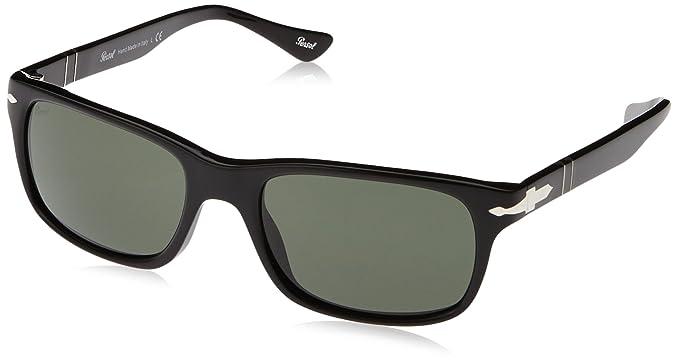 4d60a86a12 Persol Men s PO3048S Sunglasses Black Crystal Green 55mm