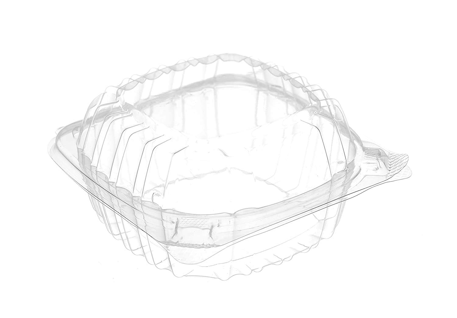 [150 Pack] 6x6 Clear Plastic Clam Shell Take Out Food Container - Take Out, Salad, Sandwich, Fruits, Polypropylene, Restaurant Supplies, Bidodegradable, Recyclable, Heavy Duty (6 x 6 inches)
