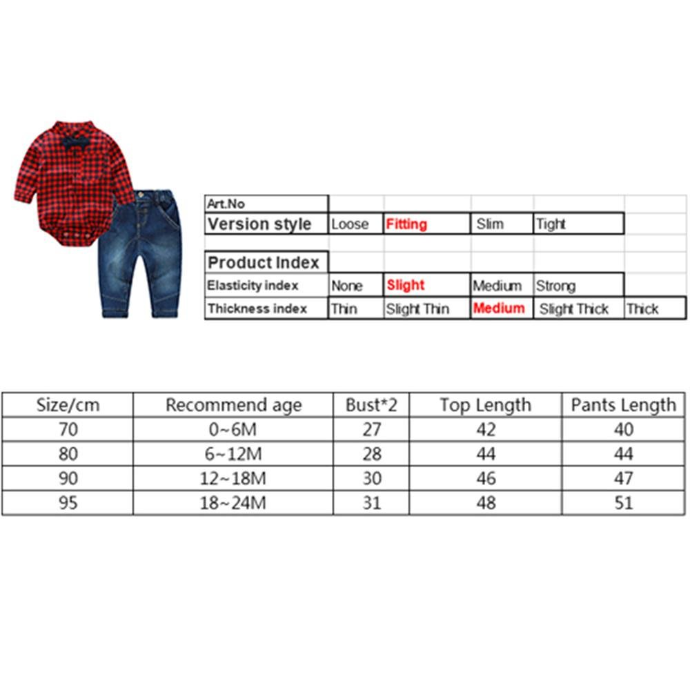 Puseky Newborn Baby Boys Red Plaid Romper Jumpsuit+Jeans Pants Outfits Clothes 0-6 Months