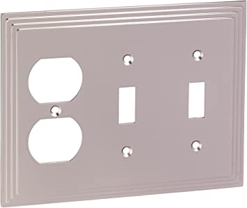 Amerelle 2 Duplex Wall Plate Outlet Cover Electrical Cast Metal Brushed Nickel