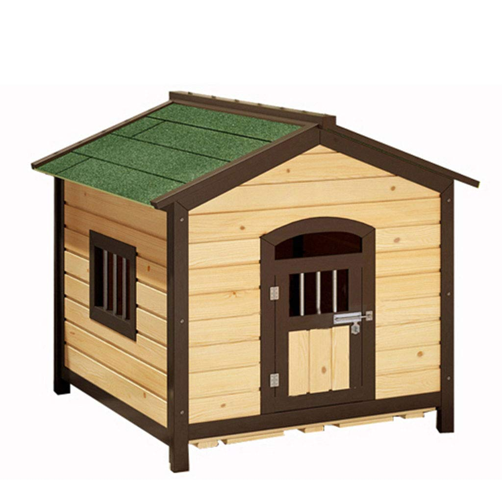 Red 655565cm Red 655565cm YANQ Solid Wood Doghouse Kennel Carbonized Outdoor Large Dog Pet Kennel Waterproof Sunscreen Antiseptic Small House (color   Red, Size   65  55  65cm)