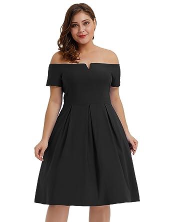 5090f4916e Hanna Nikole Plus Size Women s Short Sleeve Off Shoulder Pleated A-Line  Dress Black Size